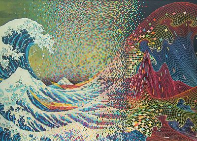 abstract, waves, CGI, psychedelic, The Great Wave off Kanagawa - related desktop wallpaper