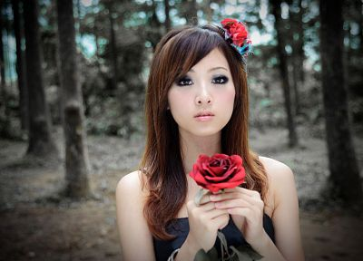 brunettes, women, trees, Asians, Taiwan, roses, Mikako Zhang Kaijie - related desktop wallpaper