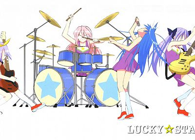 Lucky Star, Hiiragi Tsukasa, Takara Miyuki, bands, simple background, Izumi Konata, knee socks - related desktop wallpaper