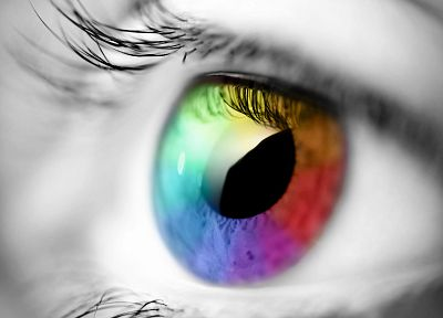 close-up, eyes, rainbows, selective coloring - related desktop wallpaper