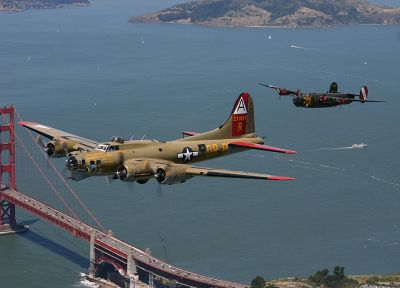 aircraft, military, bomber, Golden Gate Bridge, World War II, B-17 Flying Fortress, b17, B-24 Liberator, Flying Fortress, B-17, b24, b-24 - random desktop wallpaper