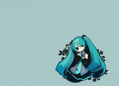 Vocaloid, Hatsune Miku, twintails, simple background, detached sleeves - random desktop wallpaper