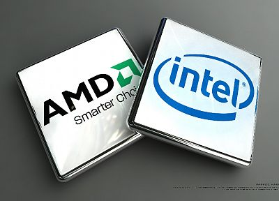 Intel, brands, logos, AMD, CPU, companies - related desktop wallpaper