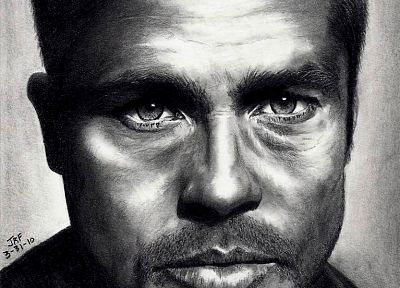 Brad Pitt, illustrations, artwork, faces - related desktop wallpaper