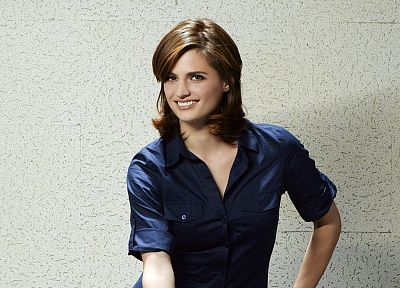 brunettes, women, smiling, Stana Katic, Castle TV Series - desktop wallpaper