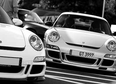 Porsche, cars, monochrome - random desktop wallpaper