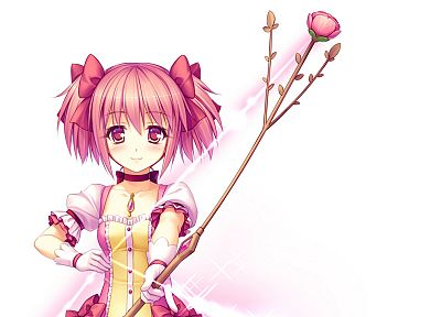 weapons, pink hair, short hair, twintails, Mahou Shoujo Madoka Magica, blush, Kaname Madoka, bows, anime, arrows, pink eyes, choker, roses, Sayori Neko Works, simple background, anime girls, white background - random desktop wallpaper