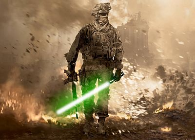 Star Wars, lightsabers, Call of Duty, Call of Duty: Modern Warfare 2 - random desktop wallpaper