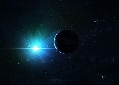 Sun, outer space, stars, planets, point, spaceships - related desktop wallpaper