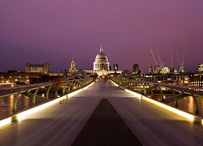 cityscapes, London, hall, urban, citylights, Millennium Bridge, St. Paul's Cathedral - desktop wallpaper