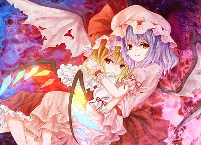blondes, Touhou, wings, dress, blue hair, red eyes, Flandre Scarlet, Remilia Scarlet, anime girls, vampire - desktop wallpaper