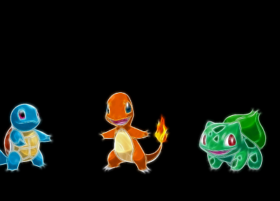 Bulbasaur, Squirtle, Charmander, black background - random desktop wallpaper