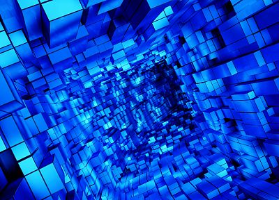 abstract, blue, cubes - related desktop wallpaper