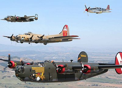 aircraft, B-17 Flying Fortress, B-25 Mitchell, B-24 Liberator, P-51 Mustang - random desktop wallpaper