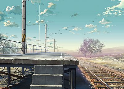 landscapes, illustrations, train stations, railroad tracks, railroads, platform - desktop wallpaper