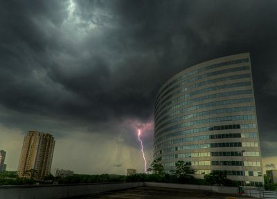 clouds, architecture, storm, buildings, Thunderbolt, rooftops, windowed facade - related desktop wallpaper