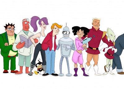 Futurama, Bender, Dr Zoidberg, alternative art, Hermes, Amy Wong, Professor Farnsworth, Turanga Leela, Zapp Brannigan, Scruffy, Philip J. Fry - random desktop wallpaper