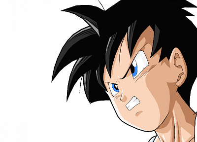 blue eyes, anime, anime boys, Dragon Ball Z, simple background, black hair - random desktop wallpaper