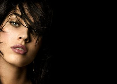 brunettes, women, Megan Fox, actress, celebrity, faces, black background - related desktop wallpaper