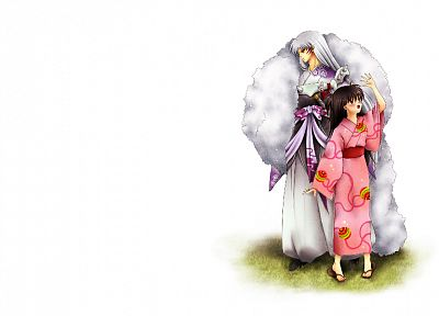 Inuyasha, Japanese clothes, simple background, Sesshomaru, white background - random desktop wallpaper