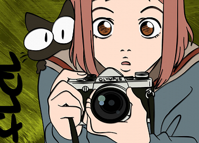 cats, FLCL Fooly Cooly, school uniforms, cameras, faces, sailor uniforms, Samejima Mamimi - random desktop wallpaper