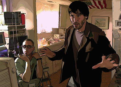 movies, Keanu Reeves, Robert Downey Jr, A Scanner Darkly, American Flag - random desktop wallpaper