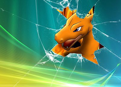 Pokemon, broken screen, Windows Vista, Charizard - desktop wallpaper