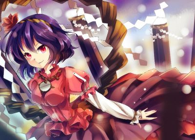 Touhou, leaves, wind, skirts, sparkles, Goddess, purple hair, red eyes, short hair, red dress, logs, Yasaka Kanako, shimenawa, onbashira, ropes - random desktop wallpaper