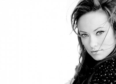 women, models, Olivia Wilde, monochrome, simple background, greyscale - desktop wallpaper