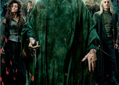 Harry Potter, Harry Potter and the Deathly Hallows, movie posters, Voldemort, Lucius Malfoy, Bellatrix Lestrange, Narcisa Malfoy, Death Eaters - random desktop wallpaper
