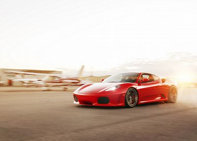 cars, airports, red cars, Ferrari F430 - random desktop wallpaper