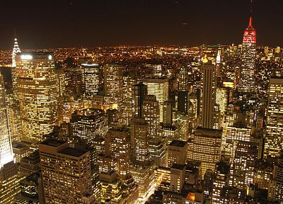 cityscapes, night, gold, buildings, New York City - random desktop wallpaper