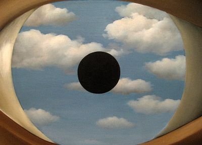 clouds, eyes, Rene Magritte - desktop wallpaper