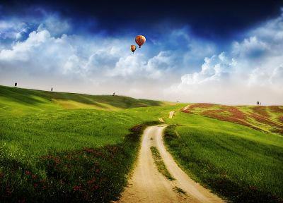 clouds, landscapes, roads, hot air balloons - related desktop wallpaper