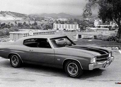 muscle cars, monochrome, Chevrolet Chevelle SS, greyscale - desktop wallpaper