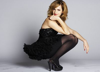 brunettes, women, Emma Watson, pantyhose, high heels, squatting, gray background - desktop wallpaper