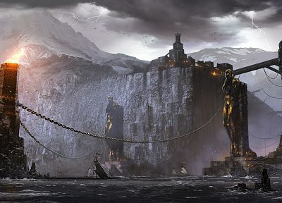 fantasy, video games, castles, ships, Dragon Age, artwork, Dragon Age 2, chains, lightning - related desktop wallpaper