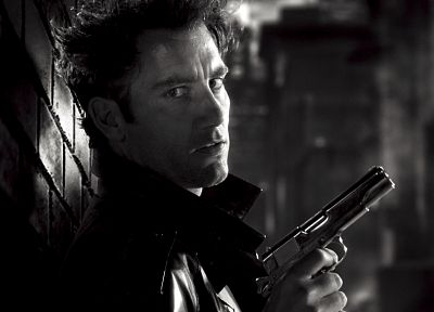 men, Sin City, monochrome, actors, handguns, Clive Owen, greyscale - related desktop wallpaper