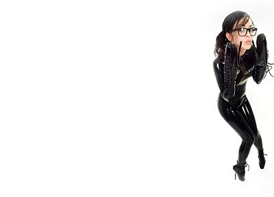brunettes, women, latex, glasses, catsuits, simple background, latex catsuit, ballet boots, white background, girls with glasses - random desktop wallpaper