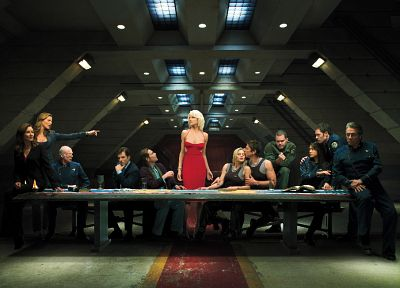 Grace Park, Battlestar Galactica, Tricia Helfer, The Last Supper, Edward James Olmos, Admiral William Adama, Katee Sackhoff, spoof, James Callis, Aaron Douglas, Michael Hogan, Mary McDonnell, Jamie Bamber, Saul Tigh, Lee Adama, Galen Tyrol, Tahmoh Peniket - random desktop wallpaper