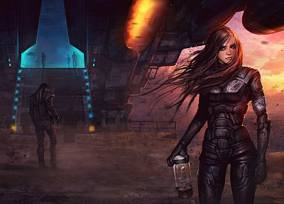 women, sunset, post-apocalyptic, apocalypse, armor, spaceships, science fiction, artwork, power suit, female soldiers - random desktop wallpaper