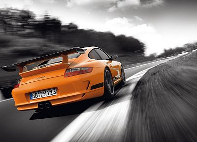 cars, vehicles, selective coloring, Porsche 911 GT3 RS, backview cars - desktop wallpaper