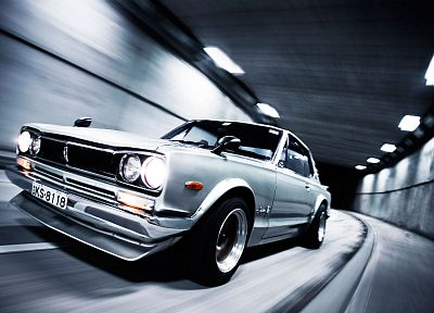 cars, tunnels, Nissan, vehicles, Nissan Skyline, side view, Nissan Skyline GT-R - related desktop wallpaper