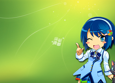 Windows 7, Madobe Nanami, Microsoft Windows, logos, OS-tan - random desktop wallpaper