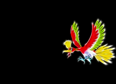 Pokemon, simple background, Ho-oh, black background - desktop wallpaper