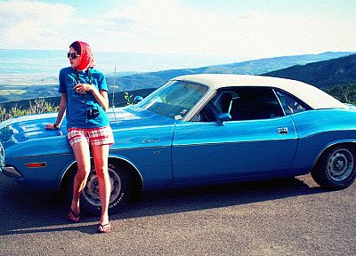 women, cars, pinups, Dodge Challenger - random desktop wallpaper