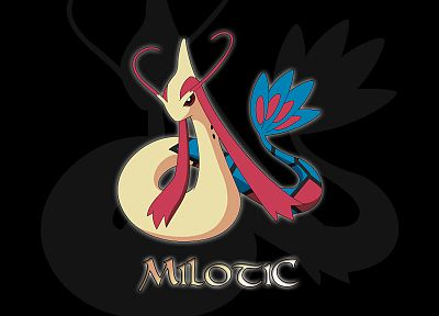 Pokemon, Milotic, black background - desktop wallpaper
