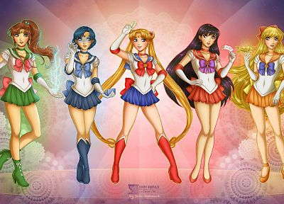 Sailor Moon, Sailor Venus, Sailor Mars, Sailor Mercury, Sailor Jupiter, sailor uniforms, Bishoujo Senshi Sailor Moon - desktop wallpaper