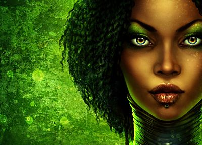 green, women, fantasy, paintings, faces - related desktop wallpaper