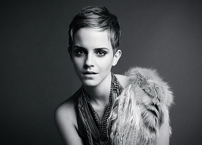 women, Emma Watson, actress, monochrome, fashion photography, greyscale - related desktop wallpaper